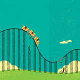 Support in a roller coaster economy. Businessmen supporting the broken tracks of the roller coaster economy so their clients don't fall off. The people & roller vector illustration
