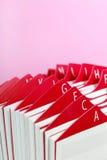 Support rouge de carte de visite professionnelle de visite Photographie stock