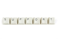 Support from scattered keyboard keys on white Stock Photos