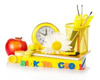 Support with school accessories and watches Stock Image