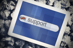 Support in search bar on tablet screen Stock Photo