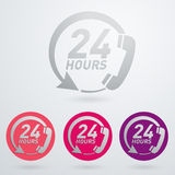 Support and service - around the clock or 24 hours a day icon Stock Photo