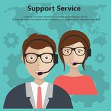 Support Service Concept. Blue background. Flat vector illustration royalty free illustration