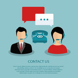 Support service. Concept. Technical support assistants. Flat illustration stock illustration