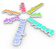 Support Service Help 3D sprial Pattern Words Stock Photo