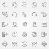 Support service icons set. Vector thin line call center symbols or customer service logo elements stock illustration