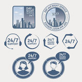 Support service labels and badges Stock Image