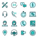 Support service vector icon. Support service and telemarketing vector icon set stock illustration