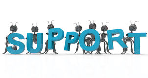 Support team 3d black ants Stock Photography
