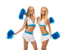 Support team. Image of pretty girls with pom poms Stock Image