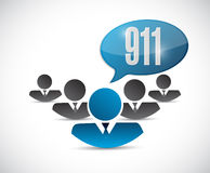 911 support team sign concept illustration. Design over white Stock Image