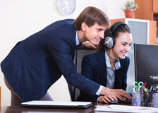 Support team working in call centre Stock Photo