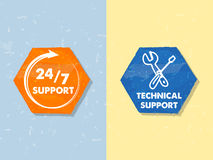 24/7 support and technical support with tools sign, two grunge h. 24/7 support and technical support with tools sign, text in two colorful grunge flat design Royalty Free Stock Photos