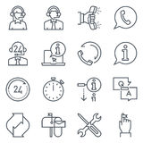 Support and tele market icon set Royalty Free Stock Image