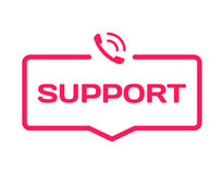 Support template dialog bubble in flat style on white background. Basis with phone icon for various word of plot. Vector. Support template dialog bubble in flat Royalty Free Stock Photography