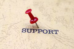 Support text. Push pin on support text Stock Photo