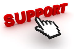 Support text with computer cursor. 3D render Royalty Free Stock Photo