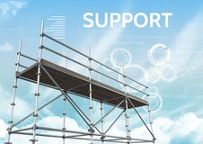 Support Text with 3D Scaffolding and technology interface sky Stock Image