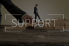 Support text over businessman walking up steps Stock Photography