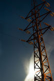 Support of a transmission line. On a background of the night sky Royalty Free Stock Photos