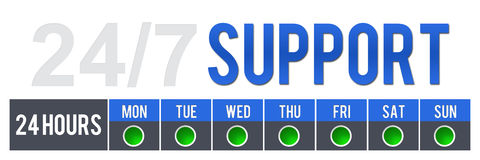24 7 Support. Twenty Four Seven Support with a green check for all week days vector illustration