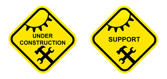 Support and under construction sign Royalty Free Stock Photography