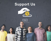 Support us Money Volunteer Donations Concept Stock Photos