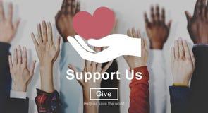 Support us Welfare Volunteer Donations Concept stock photo