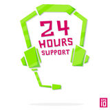 Support 24. Vector phone operator online 24 hours earphones call center element colorful Stock Photos