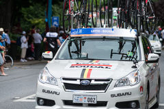 Support vehicle at the Santos Tour Down Under, January 2015 Stock Photo