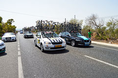 Support Vehicles Including Team Sky Pass In la Vuelta España Bike race Royalty Free Stock Photography