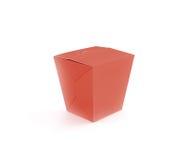 Support vide rouge fermé de maquette de boîte à aliments de préparation rapide d'isolement Images stock