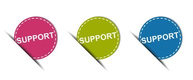 Support Web Button - Colorful Vector Icons - Isolated On White. Background Stock Photos