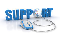 SUPPORT Word with Globe Earth and Computer Mouse Royalty Free Stock Photos