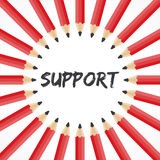 Support word with pencil background Stock Photos