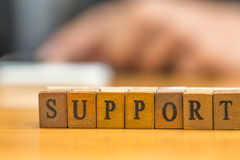 Support. word written on wood block Royalty Free Stock Photo