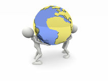 Support the world. 3d image: Support the world Royalty Free Stock Photo