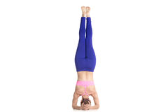 Supported headstand yoga pose Royalty Free Stock Photography