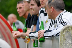 Supporter with beer. Many supporter with beer at football Stock Images