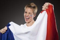 Supporter Frankrike för fotbollsportfan arkivbild