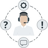 Support Male - white color, service icons and headset Royalty Free Stock Image