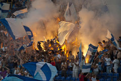 Supporters burn flares Royalty Free Stock Photography