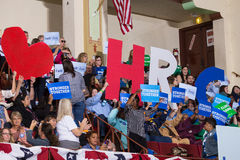Supporters cheering at the rally. Harrisburg, PA, USA - October 4, 2016: Supporters cheering at the rally for Presidential candidate Hillary Clinton Stock Images