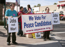 Supporters and demonstrators at GOP Debate Royalty Free Stock Photo