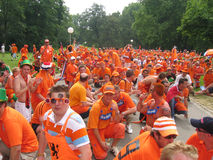 Supporters of the Dutch National Football Team. Supporters of the National Soccer Team of the Netherlands, dressed in orange, being the National Color Stock Photo