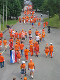 Supporters of the Dutch National Football Team. Supporters of the National Soccer Team of the Netherlands, dressed in orange, being the National Color Stock Photography