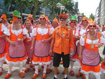 Supporters of the Dutch National Football Team. Supporters of the National Soccer Team of the Netherlands, dressed in orange, being the National Color Stock Image