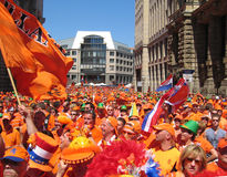 Supporters of the Dutch National Football Team. Supporters of the National Soccer Team of the Netherlands, dressed in orange, being the National Color Royalty Free Stock Photos