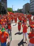 Supporters of the Dutch National Football Team. Supporters of the National Soccer Team of the Netherlands, dressed in orange, being the National Color Royalty Free Stock Photography