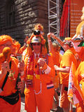 Supporters of the Dutch National Football Team. Stuttgart, Germany - June 16, 2006 Supporters of the National Soccer Team of the Netherlands, dressed in orange Royalty Free Stock Photos